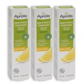 Photo Lot de 3 Dentifrices Tonifiant goût Citron 75ml Bio Aprolis