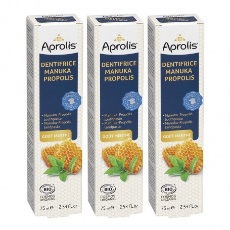 Photo Lot de 3 Dentifrices Manuka-Propolis goût menthe 75ml Bio Aprolis